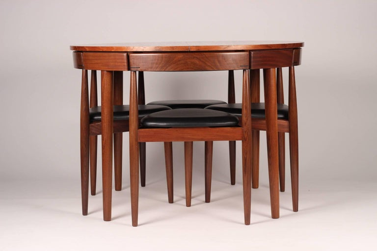 Mid-20th Century Mid Century Modern Dining Table and Six Chairs Model Roundette by Frem Røjle  For Sale