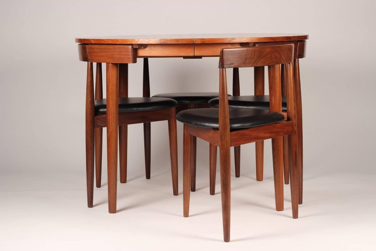 Leather Mid Century Modern Dining Table and Six Chairs Model Roundette by Frem Røjle  For Sale