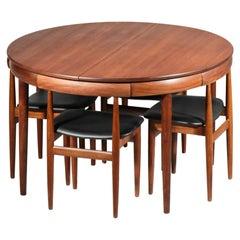 Hans Olsen Dining Table Set in Teak, Danish Design