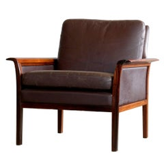 Hans Olsen Easy Chair in Cordovan Leather and Rosewood for Vatne, Norway
