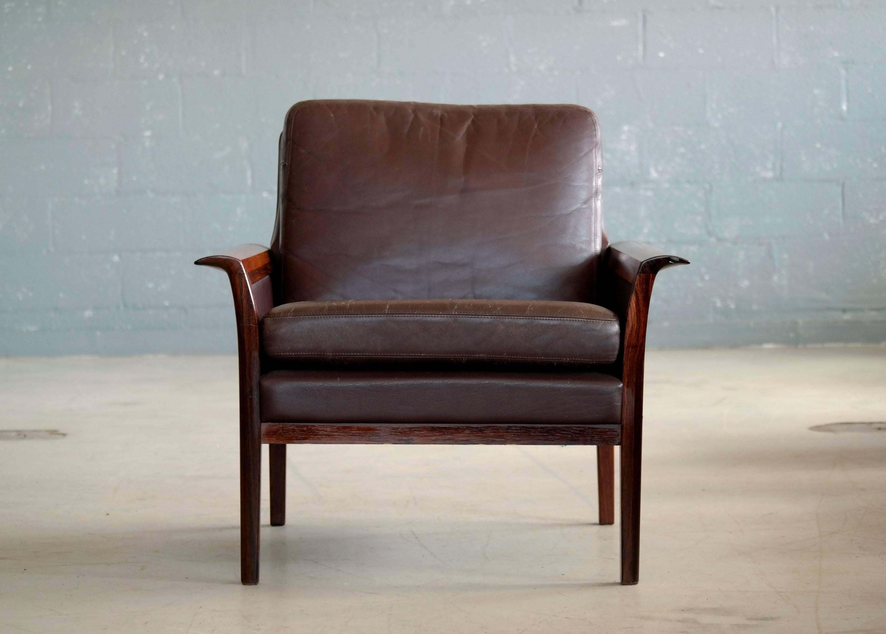 Mid Century Modern Hans Olsen Easy Chair In Cordovan Leather And Rosewood  For Vatne,