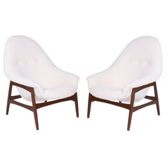 Hans Olsen for Bramin Sculptural Walnut Lounge Chairs with Off-White Upholstery