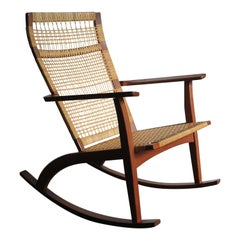 Hans Olsen for Juul Kristensen Scandinavian Woven Cane Rocking Chair, 1950s