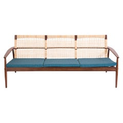 Hans Olsen for Juul Kristensen Teak Cane & Upholstered Sofa