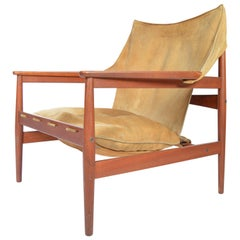 Hans Olsen for Viska Mobler 'Kinna' Suede Easy Chair