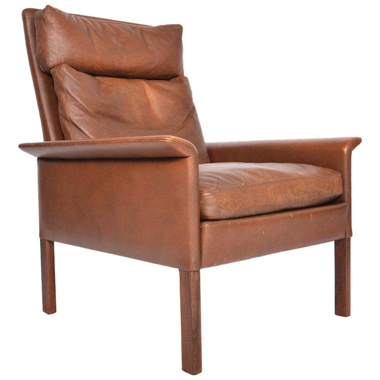 Hans Olsen Leather And Rosewood Highback Lounge Chair For