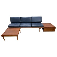 Hans Olsen Leather and Teak Sofa with Side Table and Ottoman