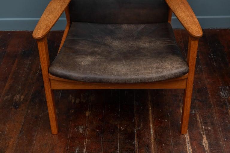 Danish Hans Olsen Leather Lounge Chair For Sale