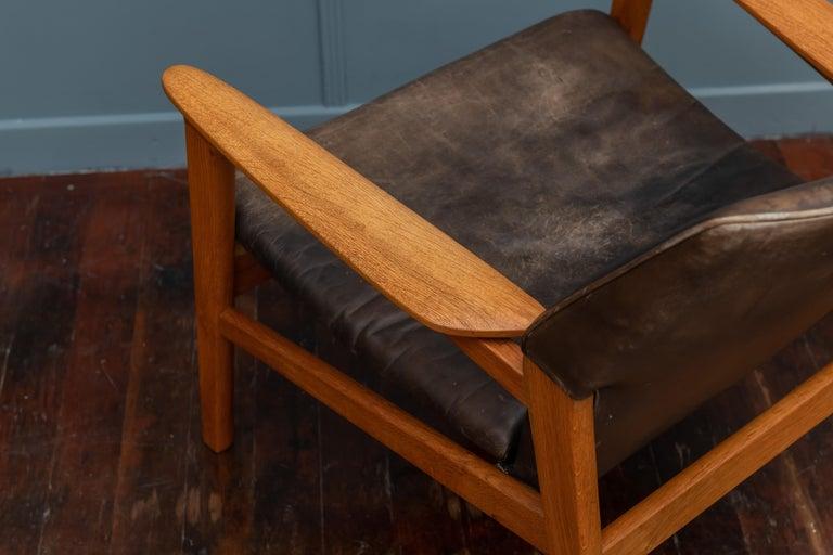 Oak Hans Olsen Leather Lounge Chair For Sale