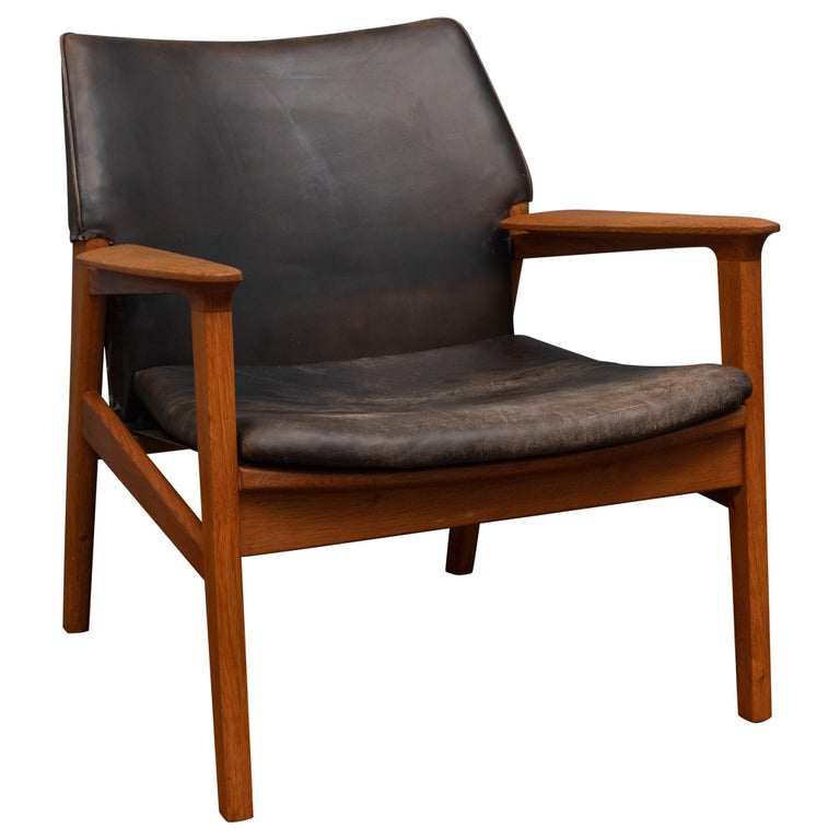 Hans Olsen Leather Lounge Chair For Sale