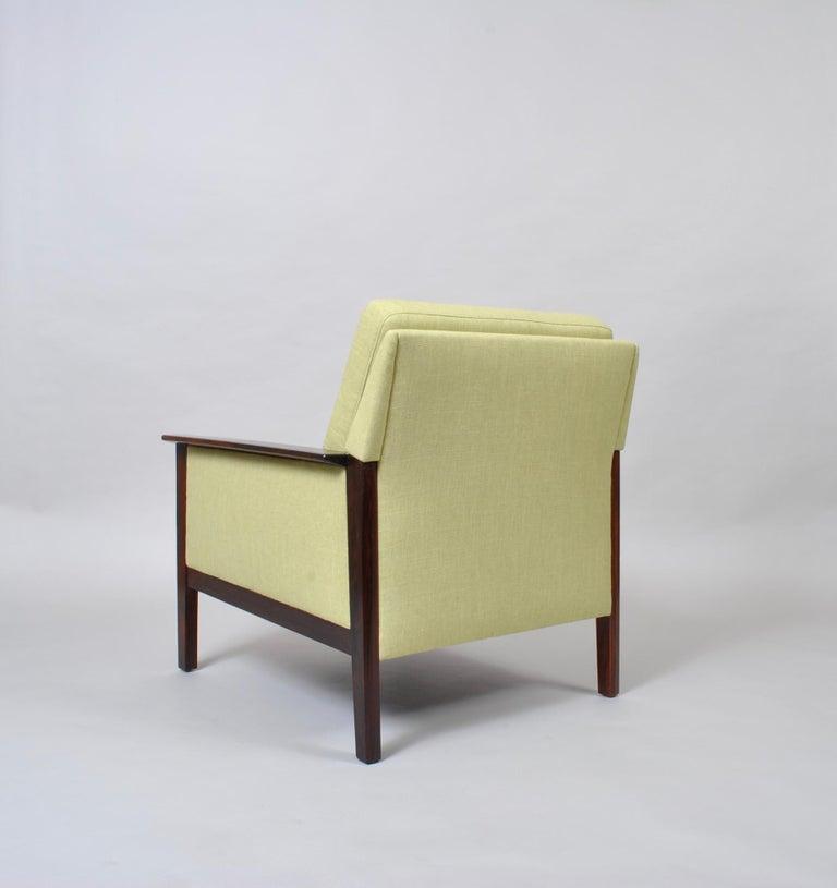 Fabric Hans Olsen, Lounge Chair, New Upholstery, Danish Midcentury For Sale