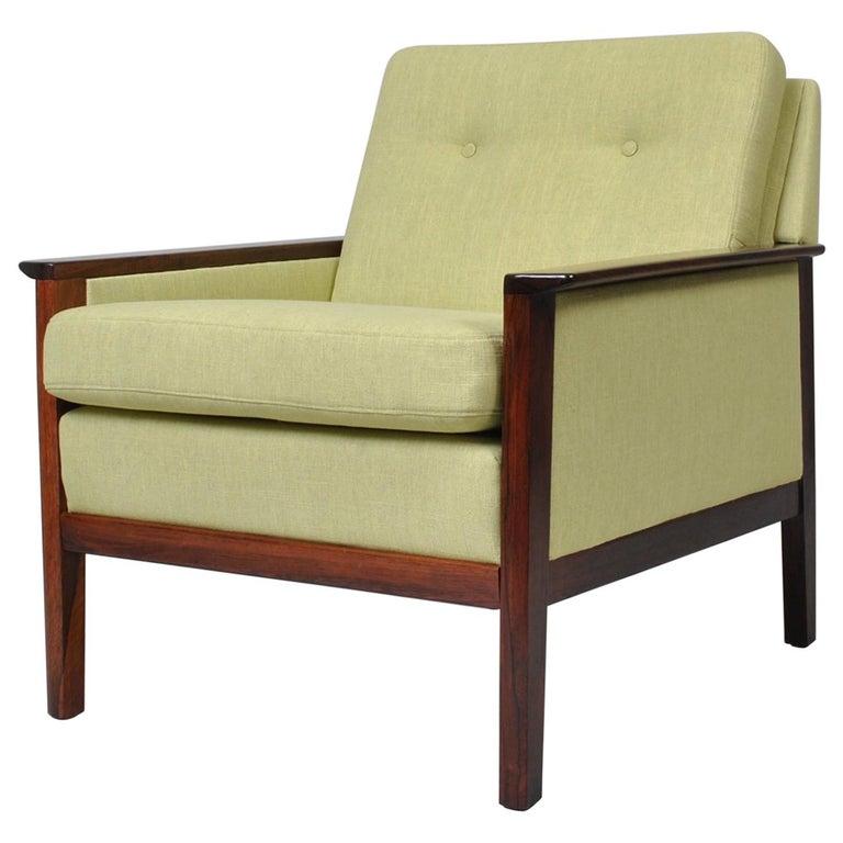 Hans Olsen, Lounge Chair, New Upholstery, Danish Midcentury For Sale