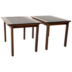Hans Olsen Mid Century Rosewood and Leather Side End Table, Set of 2