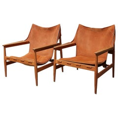Hans Olsen, Pair of Teak and Brown Suede Armchairs, circa 1960