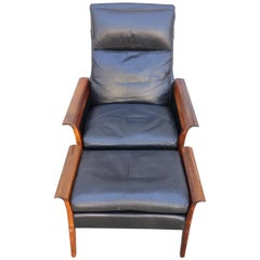 Hans Olsen Rosewood and Leather Lounge Chair and Ottoman
