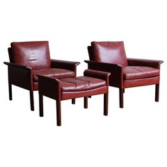Hans Olsen Rosewood Armchairs and Ottoman in Original Oxblood Leather