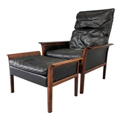 Hans Olsen Rosewood Danish Lounge Chair & Ottoman in Black Leather Mid Century