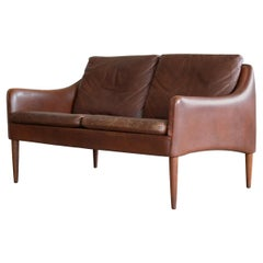 Danish Hans Olsen Settee or Loveseat in Chocolate Brown Leather and Rosewood