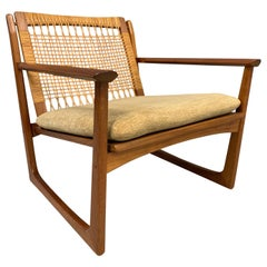Hans Olsen Teak and Cane Lounge Chair for Juul Kristensen Midcentury