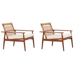 Hans Olsen Teak and Cane Lounge Chairs for Juul Kristensen