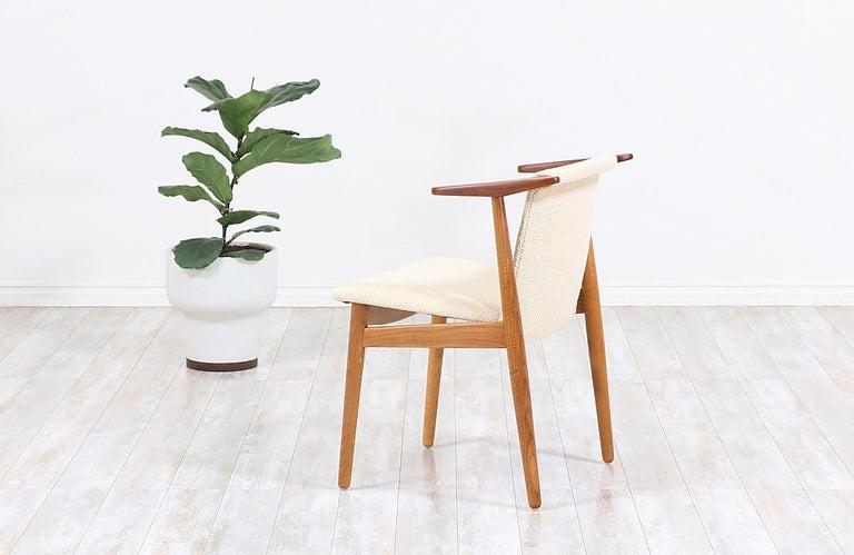Danish Hans Olsen Teak and Oak Armchair For Sale