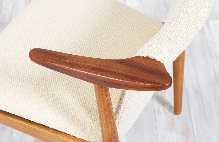 Fabric Hans Olsen Teak and Oak Armchair For Sale