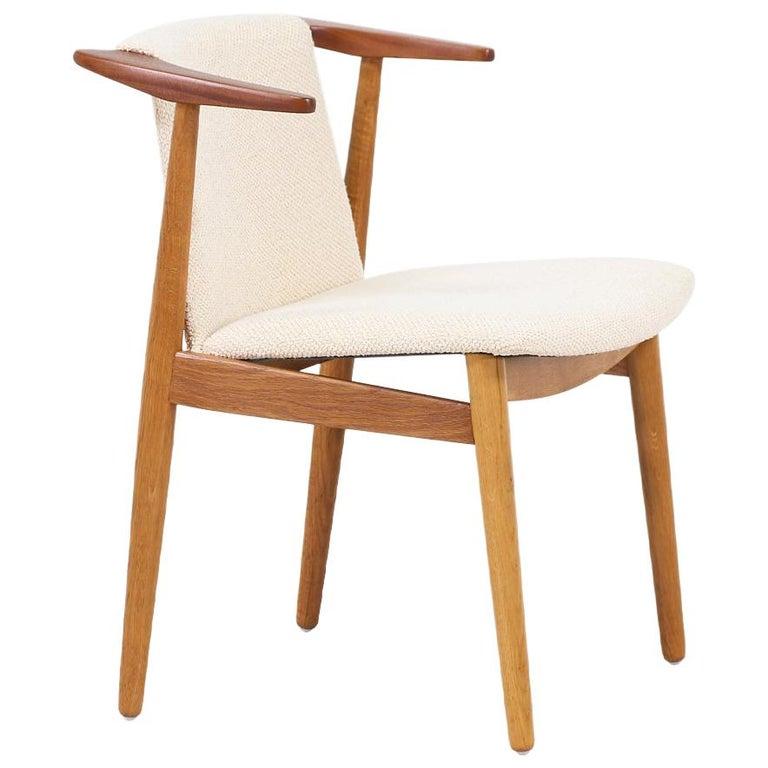Hans Olsen Teak and Oak Armchair For Sale