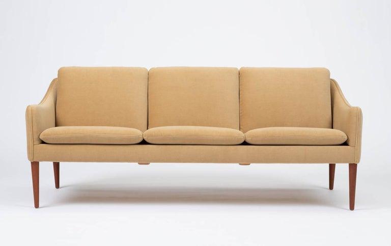 Mid-Century Modern Hans Olsen Three-Seat Sofa in Italian Mohair For Sale