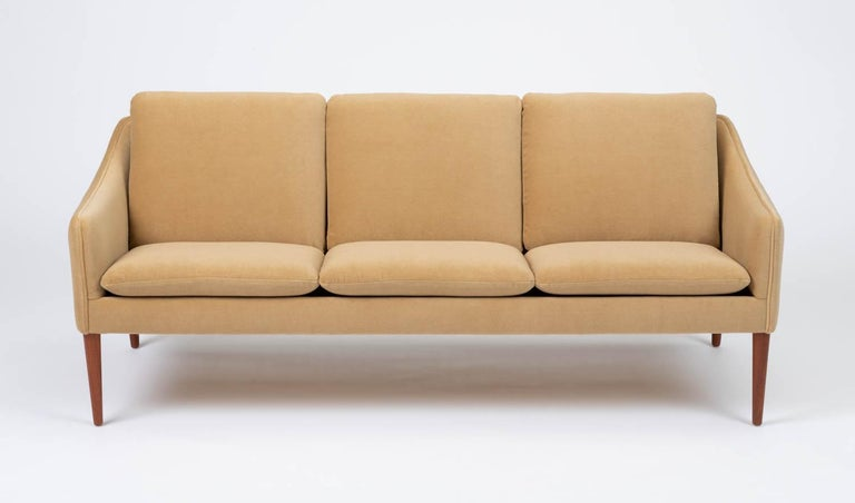 Danish Hans Olsen Three-Seat Sofa in Italian Mohair For Sale