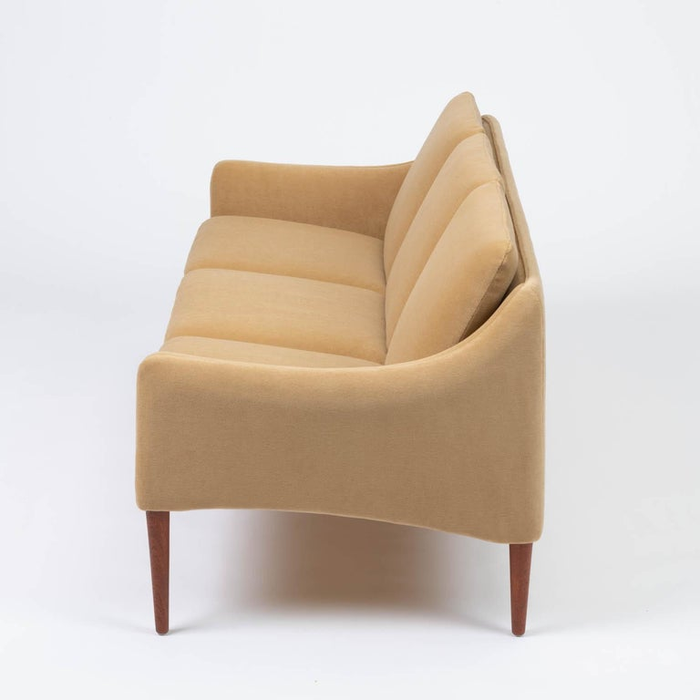 Hans Olsen Three-Seat Sofa in Italian Mohair In Excellent Condition For Sale In Los Angeles, CA