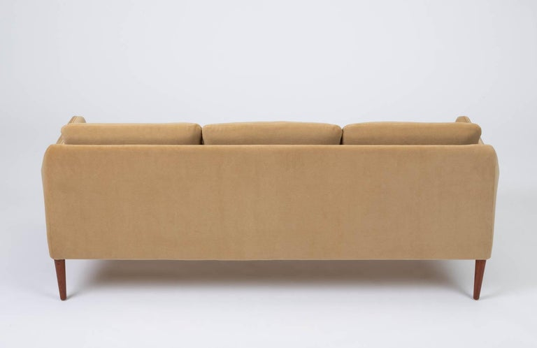 Mid-20th Century Hans Olsen Three-Seat Sofa in Italian Mohair For Sale
