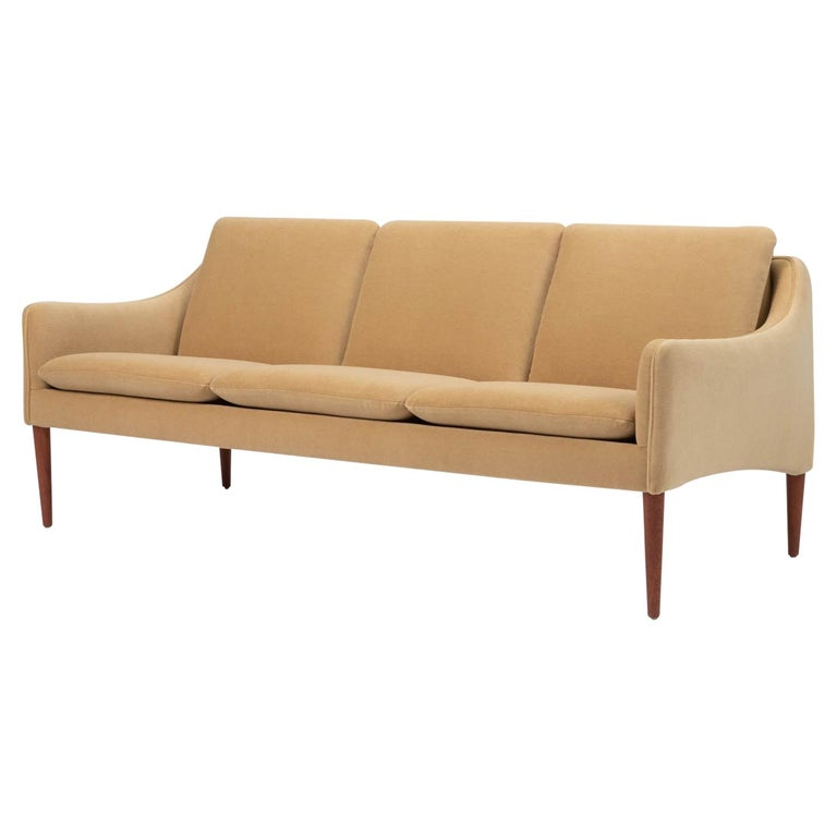Hans Olsen Three-Seat Sofa in Italian Mohair For Sale