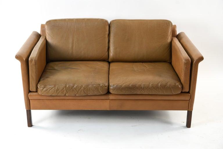 Remarkable Hans Olsen Two Seat Leather Sofa Or Loveseat Dailytribune Chair Design For Home Dailytribuneorg