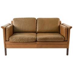 Hans Olsen Two-Seat Leather Sofa or Loveseat