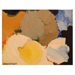 Hans Osswald, Swedish Artist, Oil on Board, Abstract Composition