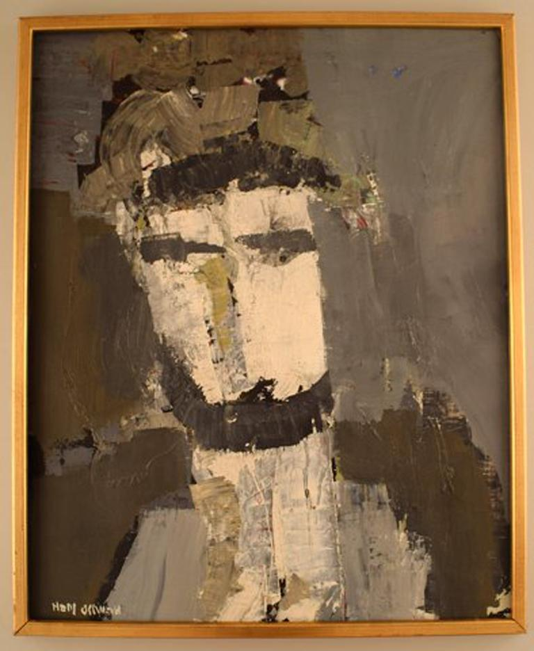 Hans Osswald. Swedish artist. Oil on board. Portrait of man. Painted in modernist style. In perfect condition. The board measures: 54 cm x 43 cm. The frame measures: 2.5 cm. Signed. Hans Osswald exhibited at both the National Museum in