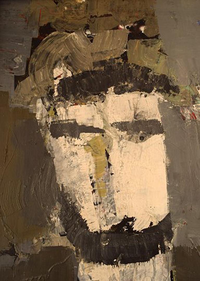 Modern Hans Osswald, Swedish Artist, Oil on Board, Portrait of Man For Sale