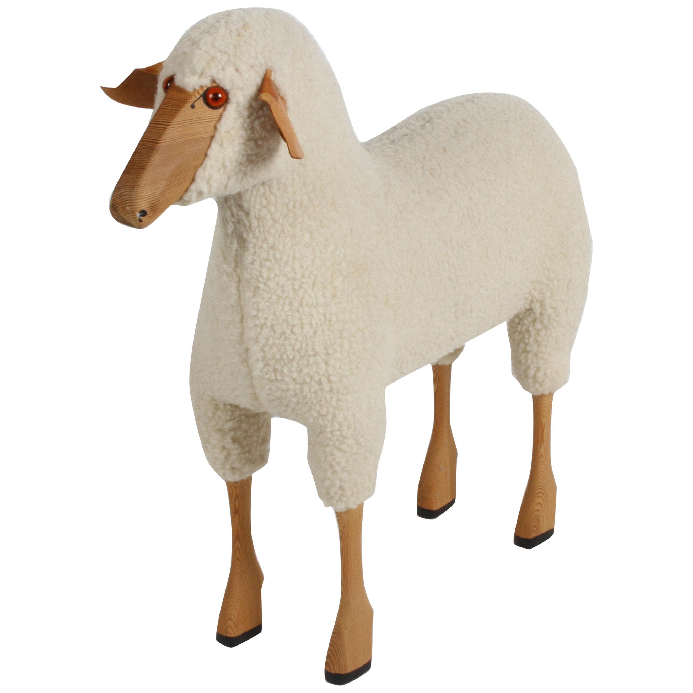 Hans-Peter Krafft Handcrafted Wool Sheep Sculpture for German Co. Meier, 1970s