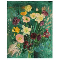 Hans Ripa, Swedish Artist, Oil on Canvas, Arrangement with Flowers