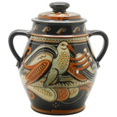 Hans Schneider Monumental Lidded Pot with Arts & Crafts Bird Motifs