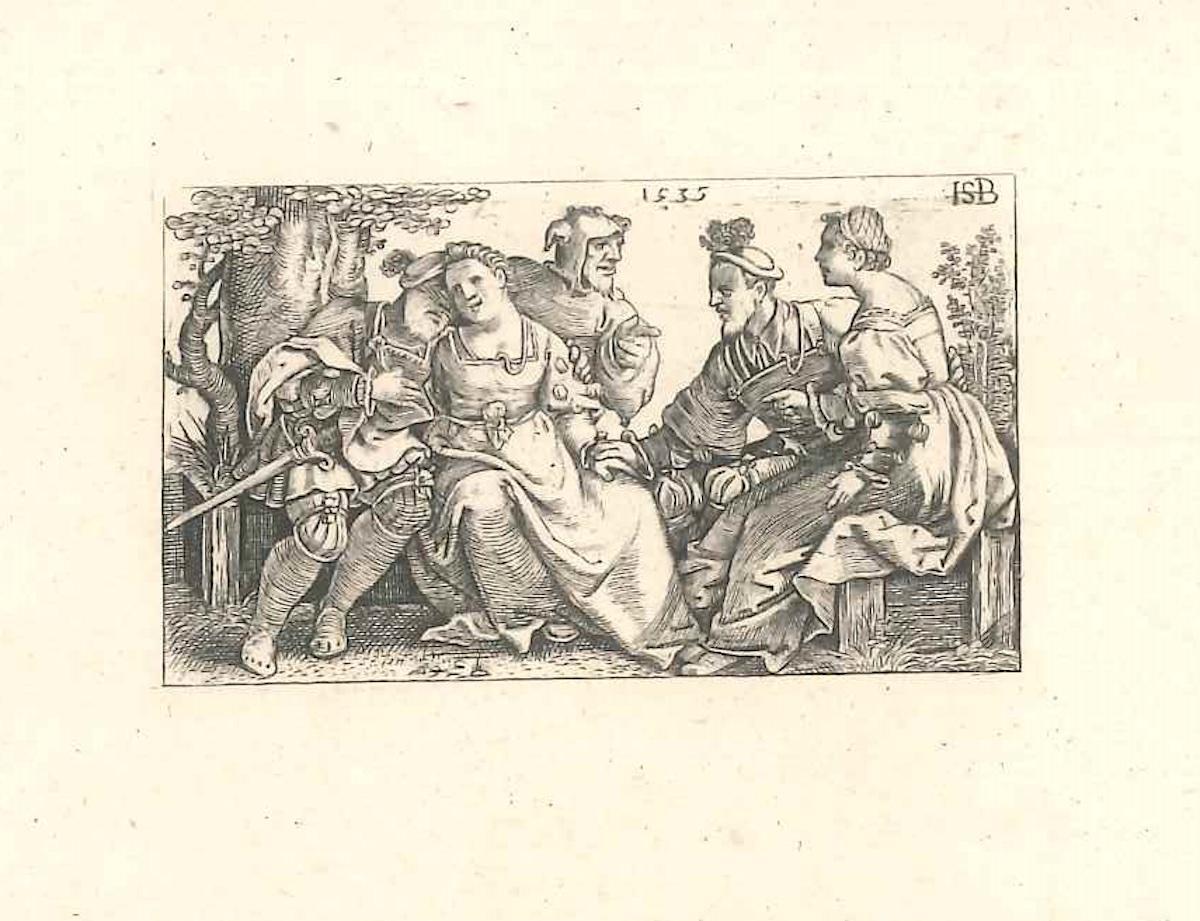 Le Bouffon et les Deux Couples Amoureuses - Original Etching - 1514
