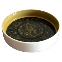 Hans Theo Baumann for Rosenthal Midcentury Olive Green, Gold and Black Dish