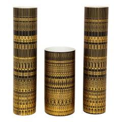 Hans Theo Baumann Rosenthal Vases, Porcelain, Gold and Black, Geometric, Signed