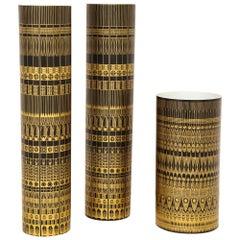 Hans Theo Baumann Rosenthal Vases, Porcelain, Gold, Black, Geometric, Signed