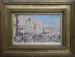 Venice - British Impressionist oil painting venetian canals gondolas cityscape