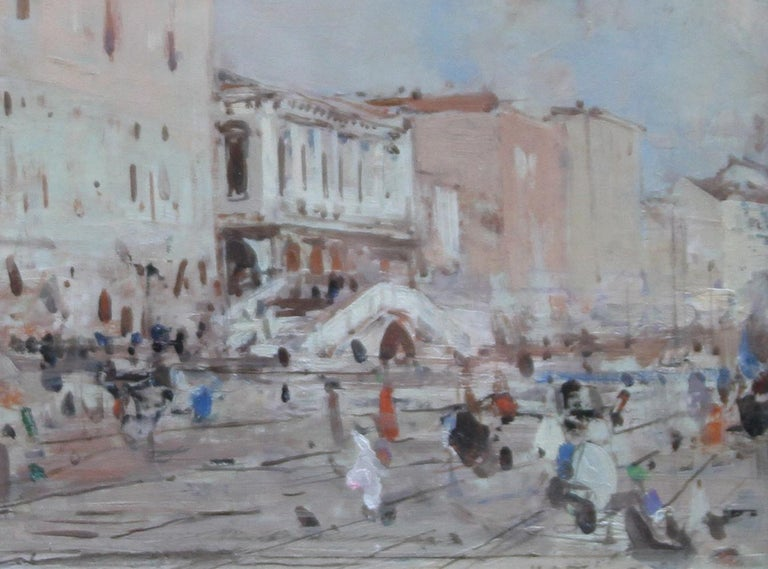 Venice - British Impressionist 19thC art oil painting Venetian canals Italy - Gray Landscape Painting by Hans Tier