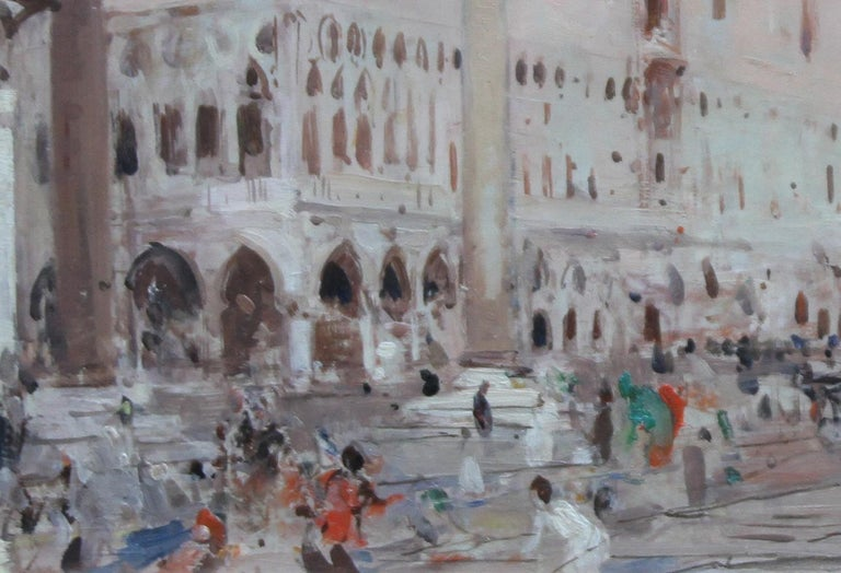 An original, circa 1900, oil on panel by British listed artist Hans Trier. It depicts Venice in Italy in pinky blue hot summer tones. A glorious British Impressionist painting with influences of Whistler in a gilded oak Whistler frame. This is a