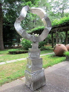 """Ethereal Oracle"" Abstract, Metal Sculpture, Large-Scale, Outdoors, Silver"