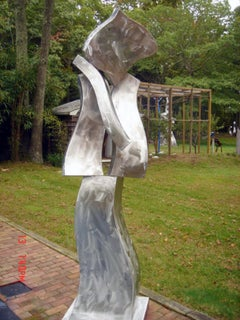 """Muse #3"" Abstract, Metal Sculpture, Large-Scale, Outdoors, Silver"