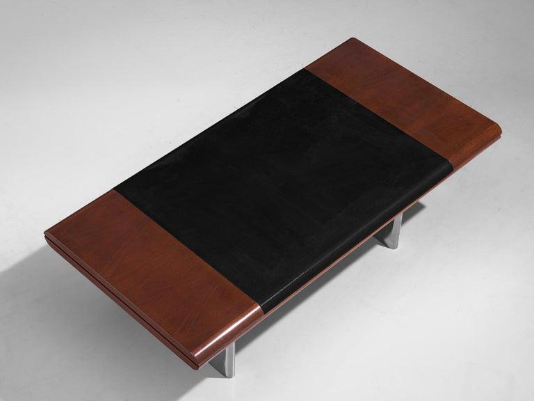 Hans Von Klier Executive Desk in Mahogany and Steel For Sale 4
